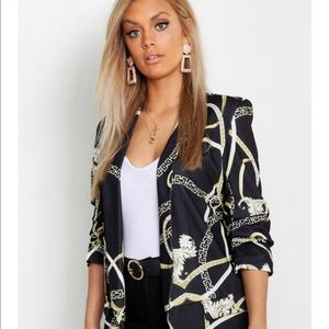 Plus Chain Print Rouched Sleeve Blazer
